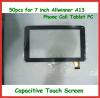 Wholesale Touch Screen Tablet Pc A13 - 50pcs 7 inch Replacement Capacitive Touch Screen with Glass Digitizer for 7 inch 86V Allwinner A13 Phone Call Tablet PC DHL Free Shipping