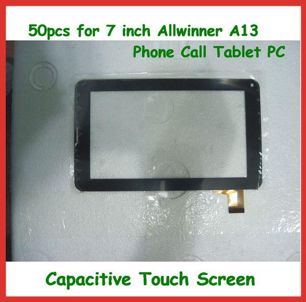 50 pz 7 pollici touch screen capacitivo di ricambio con vetro digitalizzatore per 7 pollice 86 v allwinner a13 chiamata telefonica tablet pc dhl libera il trasporto