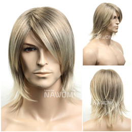 Wholesale Mans Cool Hair Wig - Hot Short Blonde Straight Hair Wig For Men Party  Cosplay   Halloween Wigs Handsome Cool Men Boy Discount Medium long Hair Wigs
