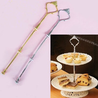Wholesale Cake Stand Fittings Wholesale - new arrival 3 Tier Cake Plate Stand Handle Fitting Silver Gold Wedding Party Crown Rod