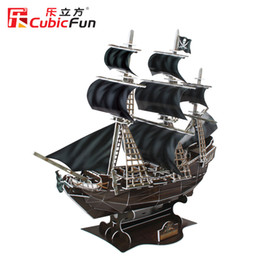 "warships toys Canada - Hot 155 pcs 3D Puzzle - The Black Pearl Warship ""QUEEN ANNE'S REVENGE"" Cubic Fun Paper EPS Model DIY Toys"