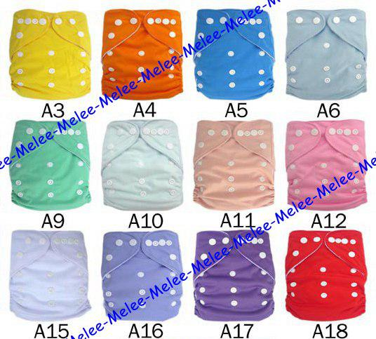 best selling 23 Color Choose Baby Cloth Diapers Plain Color Baby Diaper Covers & 3Layers Microfiber Inserts 100Pc=50set=50pc diapers + 50pc inserts Melee