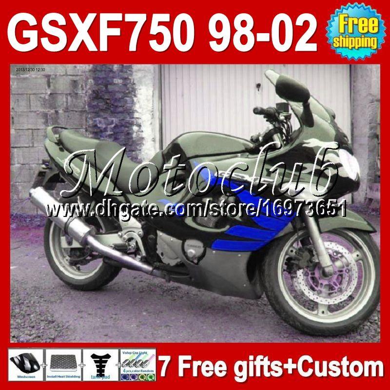 7gifts nuevo !!! Para SUZUKI KATANA 98-02 GSX750F 1998 1999 2000 2002 6 # 1369 GSXF750 98 99 00 01 02 azul negro GSXF 750 GSX 750F Carenado