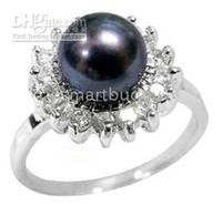 Wholesale Pearls Natural Stone - natural AAA+ 9-10mm south sea black pearl ring size 6-9