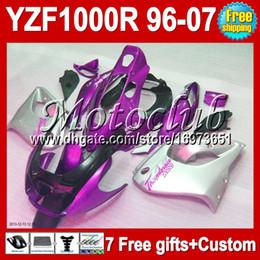Yzf thunderace verkleidungen online-7GeschenkeFür YAMAHA Lila Silber YZF1000R Thunderace 96-07 YZF 1000R 96 97 98 99 00 01 02 03 04 05 06 07 MC90662 YZF-1000R Silbriges Verkleidungskit