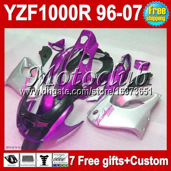 7giftsPer YAMAHA Viola argento YZF1000R Thunderace 96-07 YZF 1000R 96 97 98 99 00 01 02 03 04 05 06 07 MC90662 YZF-1000R Kit carena argentata