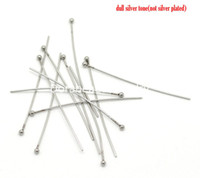 Wholesale Steel Needles Ball - Free Shipping! 50PCs Silver Tone Stainless Steel Ball Head Pins 40x0.7mm(21 Gauge) (B18378) jewelry making diy findings