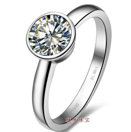 Wholesale Sona Color Diamond Rings - IJ color SONA primary one karat diamond ring , sterling silver 18K gold finger pt950 stamp set , simulation drill
