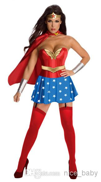 Ladies Dress Up Fancy Dress Costume Superhero Superman Superwoman Superman Costume Free Size Skirt Wristband+Headdress+Shawl+Socks Halloween Themed Clothes ...  sc 1 st  DHgate.com & Ladies Dress Up Fancy Dress Costume Superhero Superman Superwoman ...