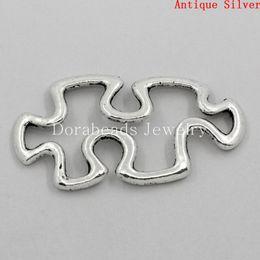 Wholesale Connectors Findings Autism Puzzle Piece Antique Silver Hollow 30x18mm,50PCs (B23546)