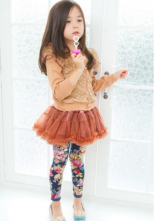 Wholesale -children leggings Floral Leggings girls leggings kids pants trousers floral pure cotton leggings 10p/l