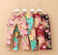 Wholesale white cotton leggings wholesale - Wholesale -children leggings Floral Leggings girls leggings kids pants trousers floral pure cotton leggings 10p l