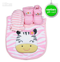 Wholesale Baby Layettes - Brand New Fashion Newborn Baby Boy Girl 3-Piece Gift Set KT bibs & shoe Socks & mittens newborn layette Gifts 24set lo