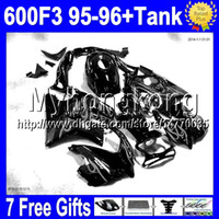 Wholesale Cbr Custom Fairings - Free Custom+7gifts Grey flames For HONDA ! CBR600F3 95-96 CBR 600 F3 Free Tank 70MY1950 CBR600 F3 CBR 600F3 95 96 1995 1996 Top Fairings
