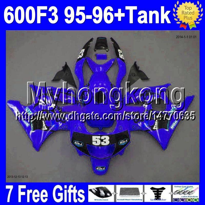 Tank+7gifts F3 95-96 53# For HONDA ! CBR600F3 1995 1996 NEW BLUE BLACK CBR 600 F3 CBR600 F3 CBR 600F3 70MY1885 95 96 Free Custom Fairings