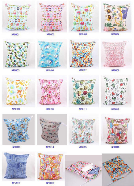 best selling Baby Waterproof Zippered Wet Dry Diaper Bag - Owl Wet and Dry Cloth Diaper Bags Wet Swimsuit Bag Animal Printed by Melee WetBag 33*28cm
