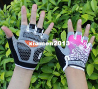 Wholesale Women Gel Cycling Gloves - Pink New Women Cycling Gloves Bike Gloves Bicycle 3D GEL Shockproof Half Finger Gloves XS M