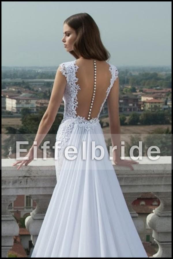 2016 Dernières robes de mariée en dentelle sexy longue en dentelle avec encolure de Vep Vefe V glamour et romantique Robes de mariée de la sirène blanche