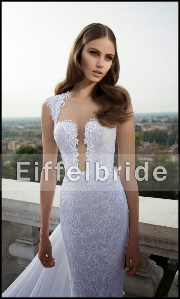 2016 Latest Sexy Long Train Lace Wedding Dresses with Unique Glamorous Deep V Neckline and Romantic Sheer Back White Mermaid Bridal Gowns