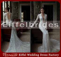 Wholesale Lace Wedding Dress Monarch Train - 2016 Sexy Lace Open Back Mermaid Wedding Dress Shiny Pearls Deep V-Neck Glamorous Long Sleeve Monarch Train Bridal Gowns Buy 1 Get 2