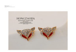 red crystal rose gold fox lady;s earings (cxdhz)
