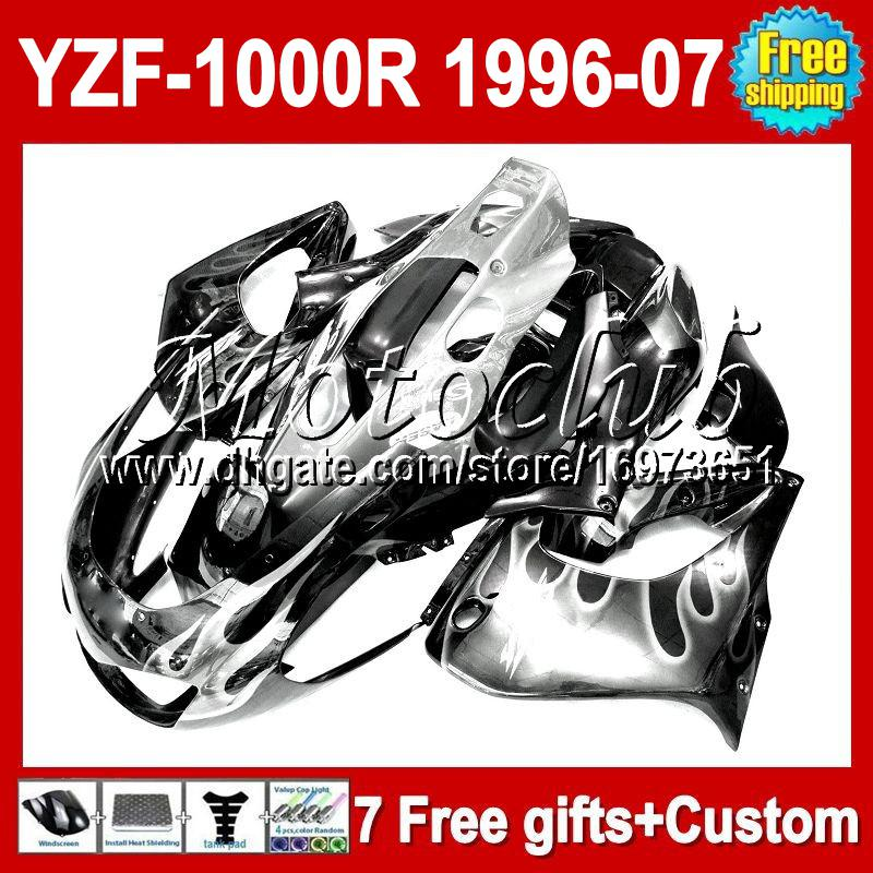 7gifts For YAMAHA YZF1000R White flames not silver YZF 1000R Thunderace M#90680 2004 2005 2006 2007 1996 1997 1998 1999 2000 Fairing
