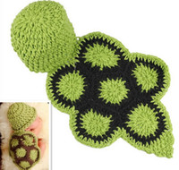 Wholesale Tortoise Costumes - Lovely Lucky Baby Beanie Sets Green Tortoise Photography Props Children's Crochet Cotton Infant Costume Outfits DEG6*1