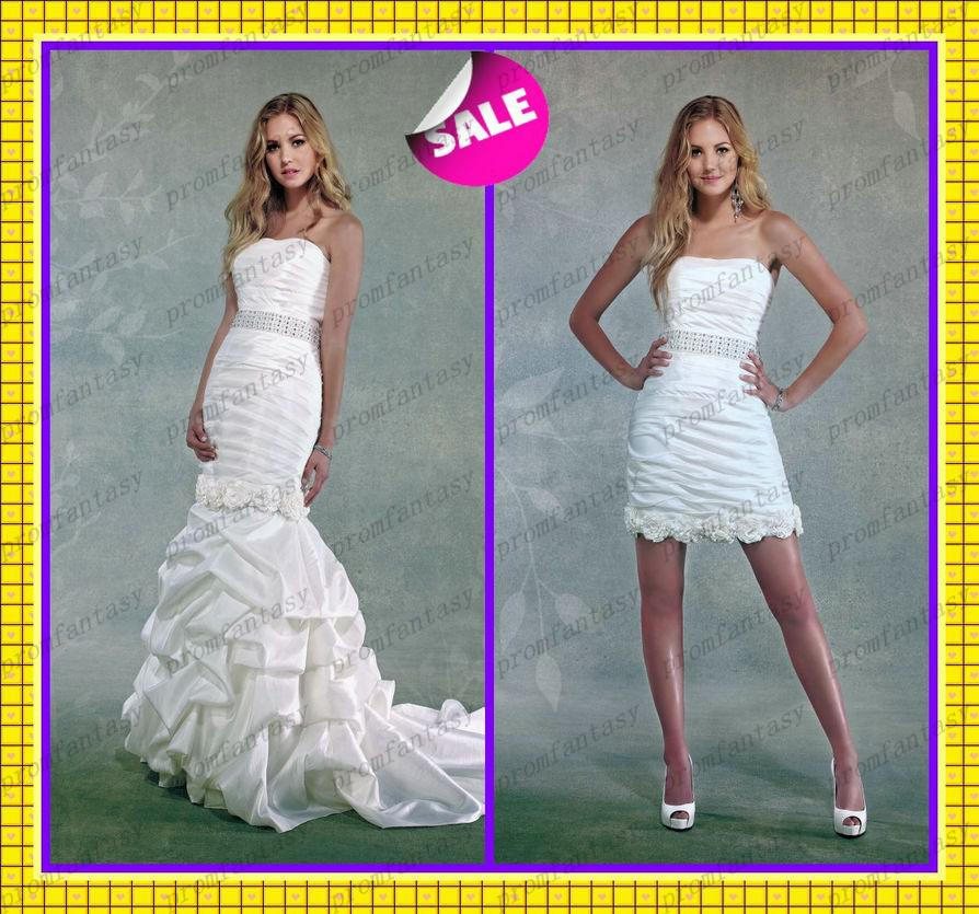 2014 Detachable Train Two Piece 2 In 1 Taffeta Mermaid Wedding ...
