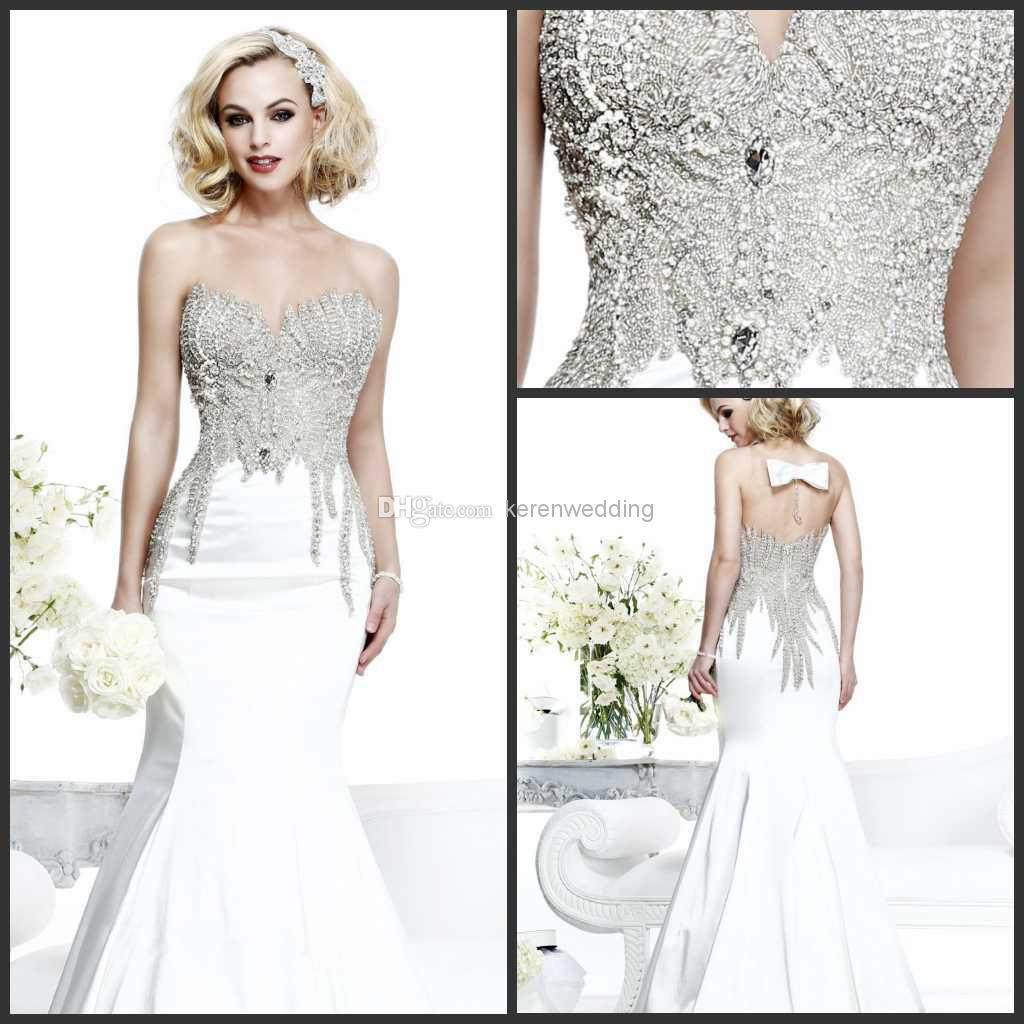 Glitz heavily beaded mermaid bridal gowns 2014 spring sweetheart glitz heavily beaded mermaid bridal gowns 2014 spring sweetheart sweep train satin wedding dresses for bride with bowknot sheer back dx330 ball gown wedding ombrellifo Image collections