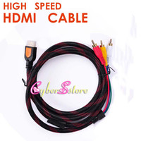 Wholesale rca component video cables - 1.5M 1080p New Nylon High Speed HDMI Male to 3 RCA RGB Audio Video AV Component Cable Lead