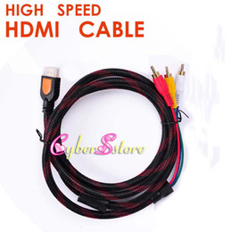 Wholesale Led Components - 1.5M 1080p New Nylon High Speed HDMI Male to 3 RCA RGB Audio Video AV Component Cable Lead