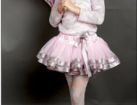 Wholesale Tutu Trim Dress - Newest Baby Girls' Voile Lace Ribbon Trim Bowknot Tutu Dress Pettiskirt Dance Ballet Costume Shirts Dresses pleated skirt clothing
