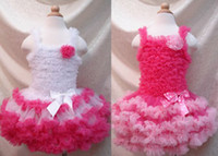 Wholesale Girls Tutu Super Fluffy - Retail 1 PCS Children Baby Girls White With Hot Pink Super Fluffy Petti Dress Kids Clothes