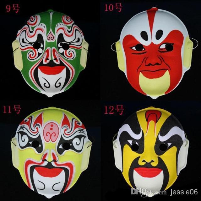 Máscara de la ópera de Pekín Máscaras faciales Plásticas acuden a la ópera de Pekín Diseño de la máscara de estilo chino al azar Halloween cosplay máscara de regalo 20 unids