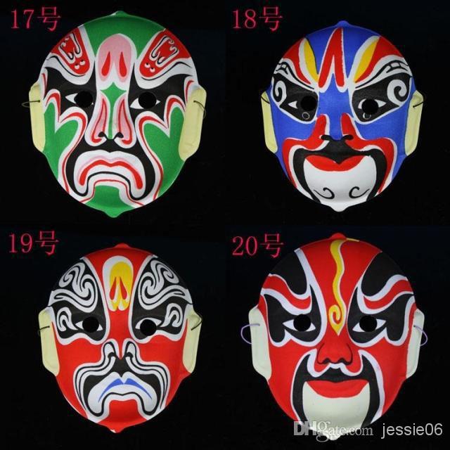 Maske Peking Oper Gesichtsmasken Kunststoff Beflockung Peking Oper Chinesische stil gesicht maske design nach dem zufall Halloween cosplay maske geschenk 20 stücke