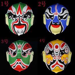 Discount beijing opera masks - Mask Beijing Opera Facial Masks Plastic flocking Peking Opera Chinese style face mask design randomly Halloween Costume