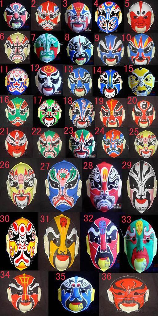 Маска Пекинская опера маски пластиковые стекаются Пекинская опера китайский стиль Маска для лица дизайн случайно Хэллоуин косплей маска подарок 20 шт.