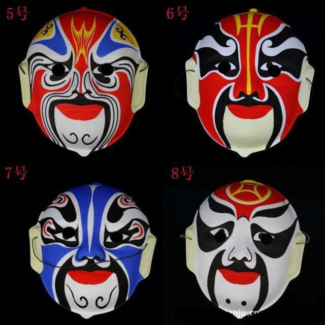 Mask Beijing Opera Facial Masks Plastic flocking Peking Opera Chinese style face mask design randomly Halloween cosplay mask gift 20pcs