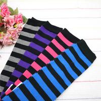 Wholesale Leg Warmer For Toddler - 2016 Newest Toddler Infant Baby Striped leg warmers baby Cotton Leg Warmer Baby Socks 4color for choose freely 48Pcs=24Pairs lot Melee