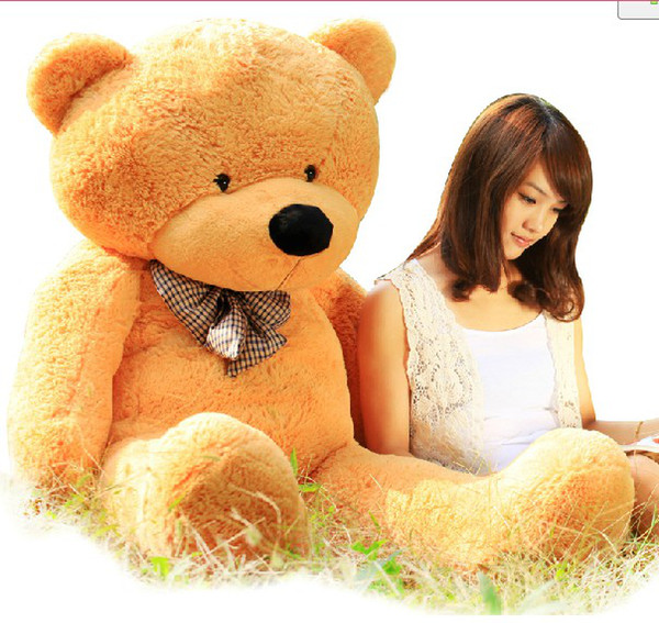 "Hot Sale New 6.3 FEET TEDDY BEAR STUFFED LIGHT BROWN GIANT JUMBO 72"" size:160cm birthday gift"