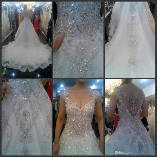 2019 new design hot sale cheap A-line wedding dresses applique beads beading sequins crystal v-neck fabric organza hollow monarch train