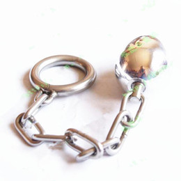 Wholesale Male Sex Gadgets - Male Anal Sex Toys Steel Butt Plug Stopper Stretcher w Chained Cock Ring SM BDSM Gadgets Bondage Gear Adult Sex Toys Products for men