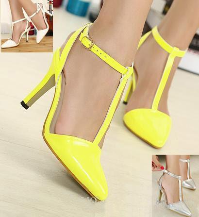 2014 Fashion Sexy Women Yellow T Strappy Stiletto Heels Silver ...