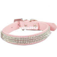 Wholesale White Leather Dog Harness - Free Shipping 2013 Lefdy New pink designer Dog collar with rhinestones white Leather and pet products