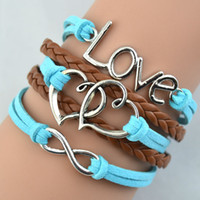 Wholesale mens leather infinity bracelet - Handmade heart bracelets Infinity Charm Bracelets Wax Cords Leather Bangle Mens and women Jewelry Gifts hy1064