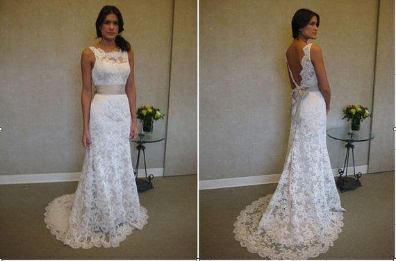 Vintage Full Lace Backless Wedding Dresses 2017 Sheer Bateau Neck Sash Court Train A Line Garden Bridal Gowns