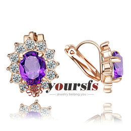 Wholesale Large Rhinestone Flower Clips - Yoursfs Luxury Trendy Large Crystal Earrings Jewelry Gift Fashion Ruby 18 K Rose Gold Plated Use Austria Purple Crystal Clip-on Earrings