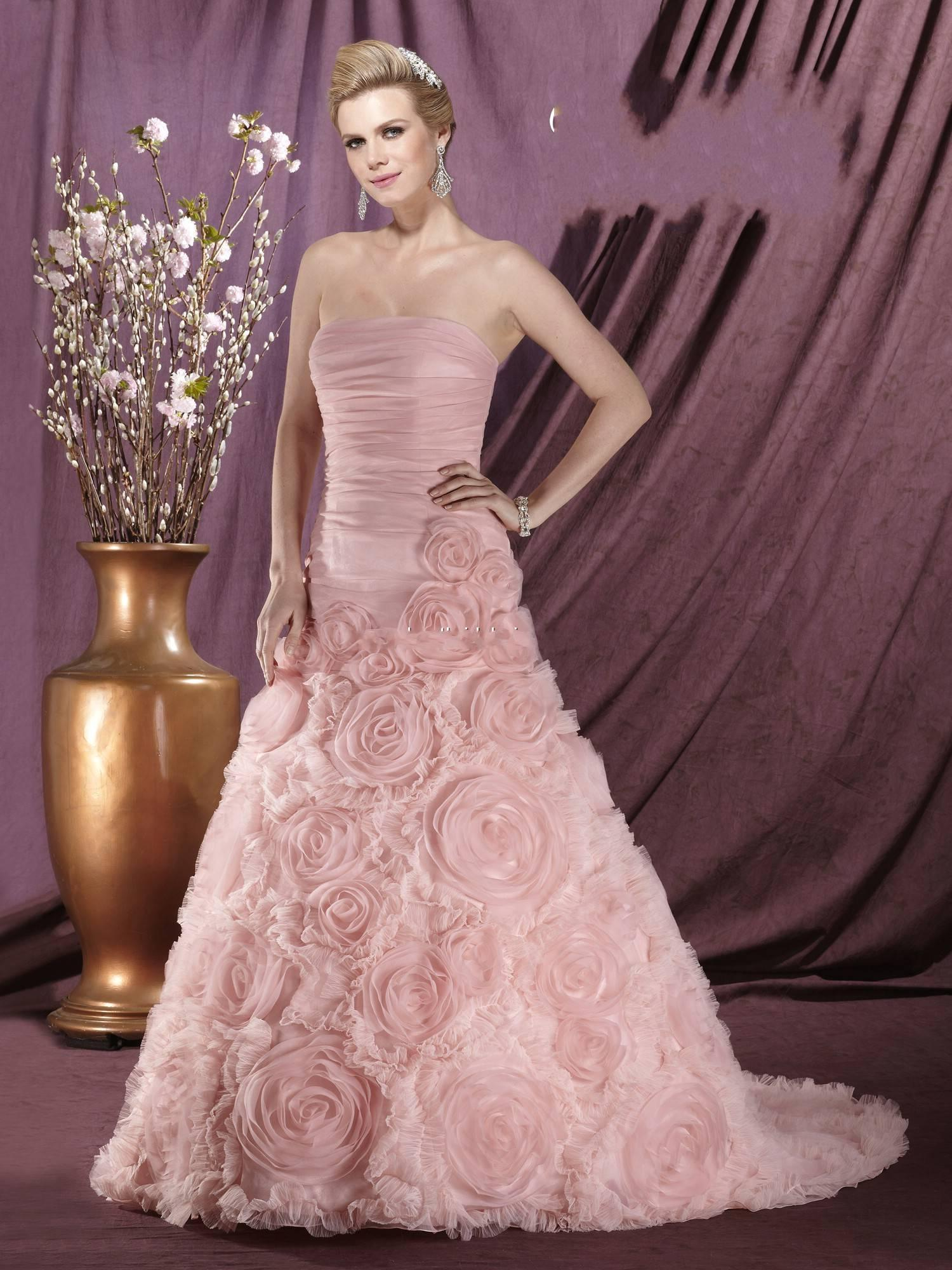 Rose Colored Wedding Dress Discount A Line Pink Dresses 2014 Strapless Organza Bridal 1161 By