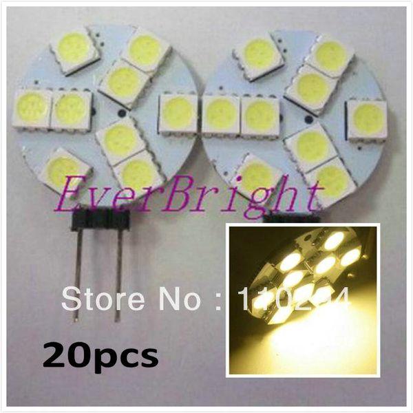 20pcs Spedizione gratuita G4 9SMD 9 LED 5050 1.8 W DC 12V / 24v Super luminoso a led lampadina lampada