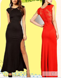 Discount lace see through maxi dress - Fashion Women Sexy Long Dress Side Split Back Lace See-through Slim Bodycon Fishtail Evening Party Maxi Dresses